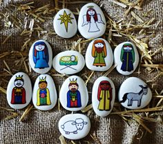 These gorgeous Nativity story stones are made from beach pebbles that have been hand painted white, the images are transferred onto the stones