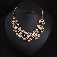 Out Femmes Déclaration Perle Simulée Boucles D/'oreilles Cristal Collier Bijoux Sets