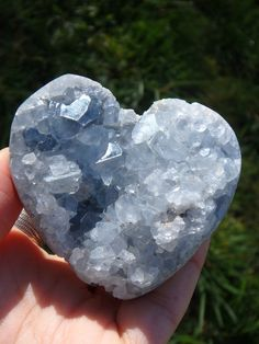 """PRECIOUS SWEET BLUE CELESTITE DRUZY HEART CARVING""   NEWLY LISTED HERE:"