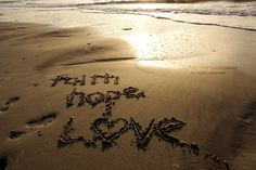 Faith, Hope, Love - 8x10 Photograph - Beach Written in the Sand Heart Brown Mocha Sunrise Sunset Fine Art Lustre Print Wall Hanging Decor. $18.00, via Etsy.
