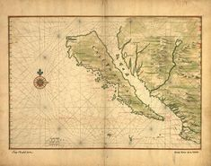 """A 1650 map, created by Joan Vinckeboon, titled """"Map of California Shown as an Island,"""" echoes the inaccurate belief of cartographers, whose early maps depicted California as an island, separate from mainland North America. The Dutch cartographer and engraver Vinckeboon was born into a Flemish family of artists and started out drawing for his father. Gulf Of California, Vintage California, Vintage Maps, Antique Maps, Island Map, Old Maps, Historical Maps, San Francisco, Fine Art"""