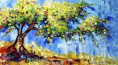 Crab Apple Tree in Bloom, Landscape Tree Painting by Texas Artist Laurie Pace, Keeping Time with the Two Step, painting by artist Laurie Justus Pace