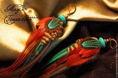 Купить Бирюзово-болотные серьги из перьев. - бирюзовый, болотный, зеленый, серьги ручной работы