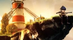 From Gorillaz, Feel Good Inc video... Love the look of the floating windmill and character sitting on the ledge.