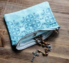 Rosary Beads & Pouch | Hail Mary ~ Full of Grace ~ The Lord is with Thee!