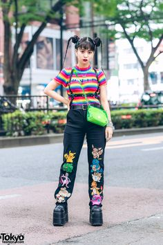 tokyo-fashion tokyo-fashion Japanese student Ayana on the street in Harajuku wearing a UNIF rainbow top with O-Mighty embroidered Pokemon pants, a see through NaNa-NaNa bag, a harness, and Demonia platform boots. Tokyo Fashion, Japan Street Fashion, Harajuku Fashion, Kawaii Fashion, Fashion 2020, Mode Harajuku, Estilo Harajuku, Harajuku Girls, Harajuku Japan