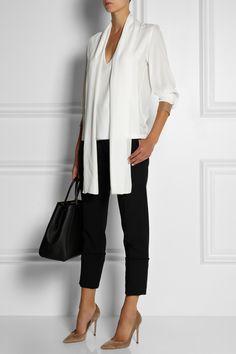Victoria Beckham|Felt-cuffed silk crepe de chine blouse|NET-A-PORTER.COM
