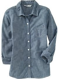 Old Navy Chambray shirt. casual. cute. affordable. Go get one =)