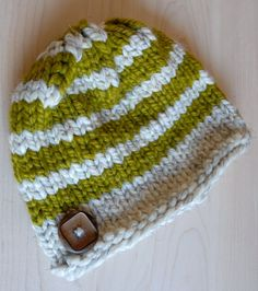 FREE SHIPPING - Wool Knit Child's Hat Wooden Button