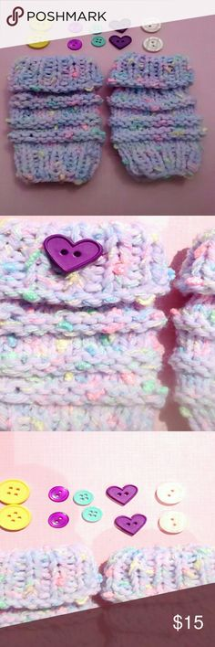 Child's Fingerless Gloves NWOT Pastel sherbet colors. Buttons optional.  Will fit a two, three, four year old. Handmade Accessories Mittens