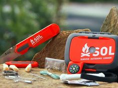 The Sol Origin survival kit fits in the palm of your hand and contains an array of key survival tools, including a fire starter, 150-lb. nylon cord, compass, flashlight, emergency sewing and fishing kits, and instructions for survival techniques and strategies.