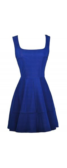 Lily Boutique Ashley Paneled A-Line Dress in Royal Blue, $38 Bright Blue Party Dress, Royal Blue A-Line Dress, Royal Blue Cocktail Dress, Cute Blue Dress www.lilyboutique.com