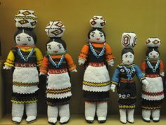 Zuni Beaded Dolls    Five beautiful beaded dolls from the Zuni people of New Mexico. These dolls are a part of the Alexander Girard collection at the Museum of International Folk Art in Santa Fe, New Mexico