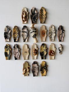 Doug Baulos:ceramic pages installation - lithography, porcelain, underglaze, linen, various historic bindings