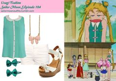 Like Sailor Moon Outfits on Facebook! Requested by:kittyichooseyou Forever 21 four pocket twill shorts in Cream Forever 21 sequin bow clips in Jade River Island pink enamel bow necklace Charlotte Russe braided front zigzag wedge Ruche Calm Seas chiffon top
