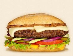 The Isabella:  Wisconsin Monterey Jack and Cheddar Cheeseburger Recipe.  Other ingredients:  beef patty, refried beans, green leaf lettuce, sliced red onions, avocado, pickled jalapenos, tomatoes, and Mexican roll.   - Wisconsin Milk Marketing Board
