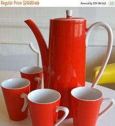 ON SALE Vintage Retro Mod Orange Coffee Tea Pot and Cups Set - STC Japan Pot and 4 cups