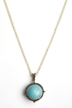 at Brandy Melville // Round turquoise stone necklace