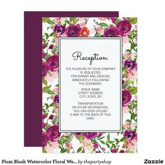 Shop Plum Blush Watercolor Floral Wedding Reception Invitation created by thepartyshop. Wedding Reception Invitations, Diy Wedding Reception, Wedding Ideas, Watercolor Wedding, Floral Watercolor, My Perfect Wedding, Elegant Flowers, Zazzle Invitations, Purple Wedding