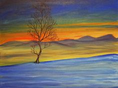 Title: Solitaire    Original 18 x 24 snowy landscape painting of a single tree silhouetted against a mountain sunset.