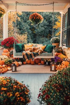 Fall Porch Decorating - Classy Girls Wear Pearls -- Sunbrella I love all these rich colors! Autumn Aesthetic, Autumn Cozy, Fall Home Decor, Front Porch Fall Decor, Fall Apartment Decor, Fall Yard Decor, Apartment Porch, Fall Porches, Autumn Inspiration