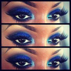 Blue makeup on dark skin