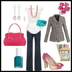 Hot Pink, Turquoise & Gray.