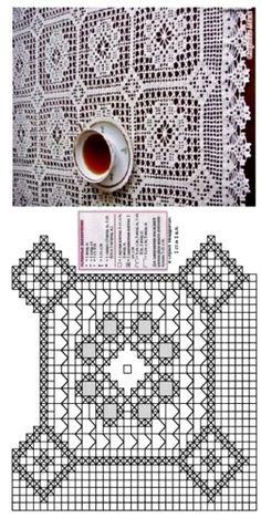 Crochet Tablecloth Pattern, Crochet Doily Patterns, Crochet Squares, Thread Crochet, Crochet Motif, Crochet Doilies, Crochet Lace, Filet Crochet Charts, Crochet Diagram