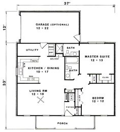 2 baths = This small Country House Plan has a Ranch style that is perfect for an empty nester or a family just starting out. D House, Tiny House Living, Cottage Plan, Cottage Homes, Small House Plans, House Floor Plans, The Plan, How To Plan, Small Country Homes