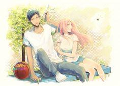 Kuroko no Basket - Daiki Aomine (青峰大輝) & Satsuki Momoi (桃井さつき) Aomomo Manga Anime, Anime Couples Manga, Cute Anime Couples, Anime Art, Otaku, L Dk, Akakuro, Kuroko Tetsuya, Manga Couple
