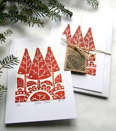 Hand Printed Original Lino Print Christmas Trees by mangleprints
