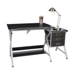 Shop OneSpace Black and Silver Craft Station with Stool - Overstock - 12298607 Wood Drafting Table, Drafting Desk, Fabric Drawers, Craft Station, Best Desk, Modern Crafts, Low Shelves, Shelf, Home Office Desks