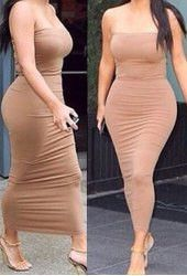 Alluring Strapless Sleeveless Solid Color Bodycon Dress For Women