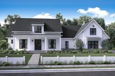 There's no shortage of curb appeal for this beautiful 4 bedroom modern farmhouse plan. Visit our site for the newest Farmhouse House Plans. Change the roof to metal and enlarge the rooms just a bit and it's perfect! Modern Farmhouse Exterior, Farmhouse Design, Farmhouse Style, Craftsman Farmhouse, Cottage Exterior, Southern Farmhouse, Garage Exterior, Car Garage, Southern Style
