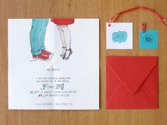 Tarjetón boda ilustración