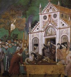Giotto, Legend of St Francis- 23. St. Francis Mourned by St. Clare 1300 Fresco, 270 x 230 cm Upper Church, San Francesco, Assisi