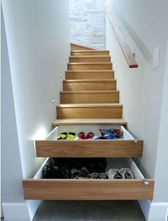 Make those wooden planks on your stairs into shoe cabinets. No more extra storage space to eat the floor of the house. Everything is in one place now. Genius, right?