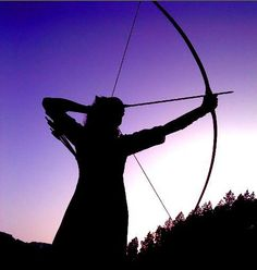 """Traditional archer at sunset""~ one of my favorite times to shoot. :)"