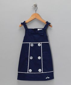 Take a look at this Navy Button & Bow Dress - Infant & Toddler by Lilybird on #zulily today! Love this but it's too small. Think mom can make it!