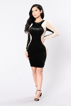 Available in Black/Taupe Velvet Dress Round Neck Long Sleeve Cut Out Back Back Button and Zipper Opening Ribbed Velvet Trim Knee Length Polyester Spandex Tank Dress, Dress Skirt, Bodycon Dress, Fashion Poses, Fashion Dresses, Fashion Nova Models, Perfect Woman, Her Style, Dress Making