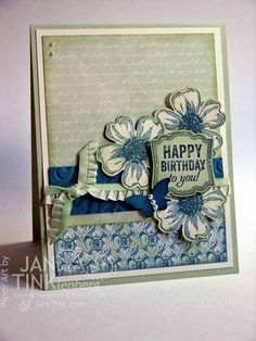 "Ingredients: Stamps - Flower Shop, Label Love; Paper - Venetian Romance DSP, Very Vanilla, Pistachio Pudding, Island Indigo; Ink - Island Indigo, Pistachio Pudding; Other - Pansy punch, Artisan Label punch, Bitty Butterfly punch, Beautifully Baroque embossing folder, Pistachio Pudding 3/8"" Ruffle Stretch Trim, Basics Jewels Pearls, sponge wedges, dimensionals."
