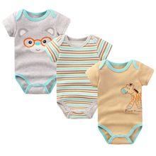 3 Peças/lote Macacão de Bebê Menino e Menina Manga Curta Leopardo impressão de…