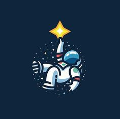 Design Inspiration is an inspiration series focused more on the graphic design side. Astronaut Drawing, Astronaut Illustration, Space Illustration, Simple Illustration, Design Blog, Icon Design, Logo Design, Doodle Icon, Cartoon Tattoos