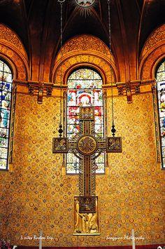 Cross in Boston Trinity Church interior view