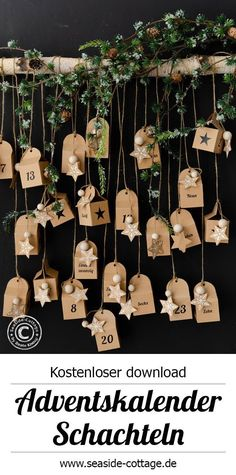 Free templates to print for advent calendar for filling, with video . - Free templates to print for advent calendar for filling, with Video Anleitungww … - Christmas Time, Christmas Cards, Holiday, Xmas, Old Country Decor, Decoration Pirate, Decor Crafts, Diy And Crafts, Candy Christmas Decorations