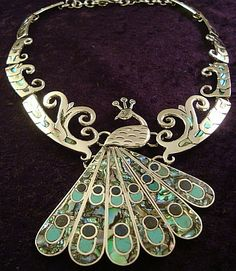 Wow! Peacock necklace from Taxco. Mexican sterling silver, Abalone, Sodalite, and turquoise.