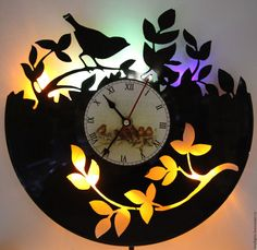 Купить Часы настенные с подсветкой из виниловой пластинки Певчая птица - черный, часы, часы настенные