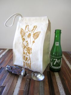 Screen Printed Recycled Cotton Lunch Bag - Reusable and Washable - Eco Friendly and Fun - Giraffe Illustration - Lunch Box.