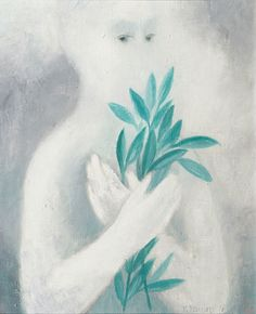 Vladimír Komárek (Czech, Girl with branches, 1978 Oil on canvas, 50 x 40 Pablo Picasso, Cool Artwork, Branches, Oil On Canvas, Cool Art, Eggplant