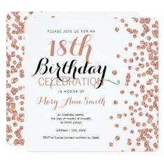 18th Birthday Rose Gold Faux Glitter Confetti Card - invitations custom unique diy personalize occasions